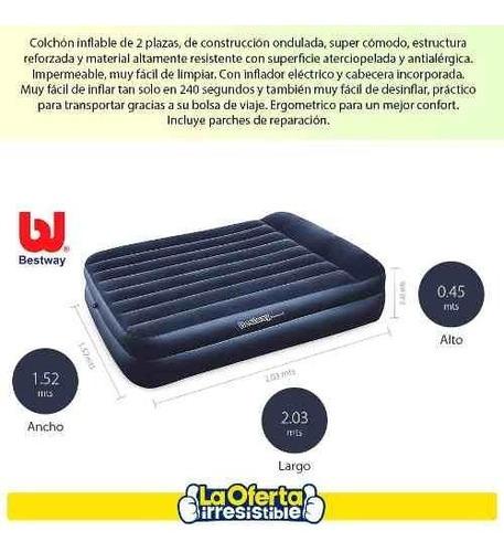 colchón sommier 2 plazas auto inflable eléctrico oferta loi