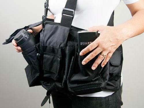 colete bolsa fotográfico - fotojornalismo e esportivo