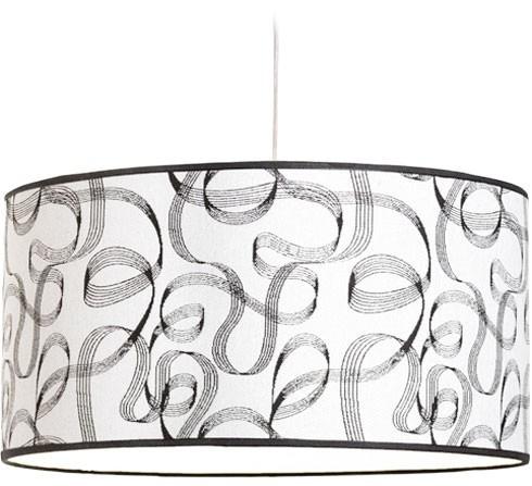 colgante pantalla tela diseño blanco y negro artelamp