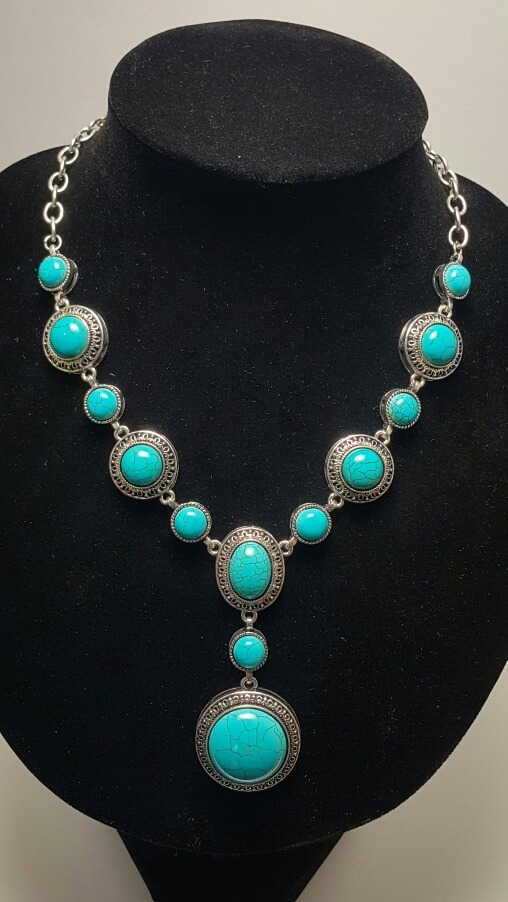 5fe93f2ba56d collar con piedras color turquesa. usalo largo o corto. Cargando zoom.