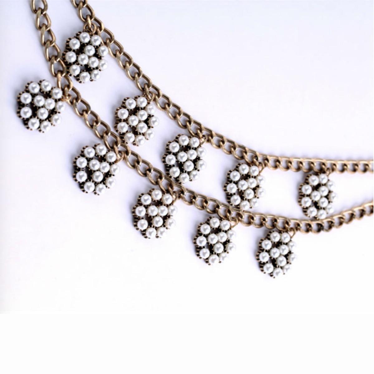2fc9971a6a70 Collar Doble Cadena Con Dijes De Perlas - Bijoux Fiesta