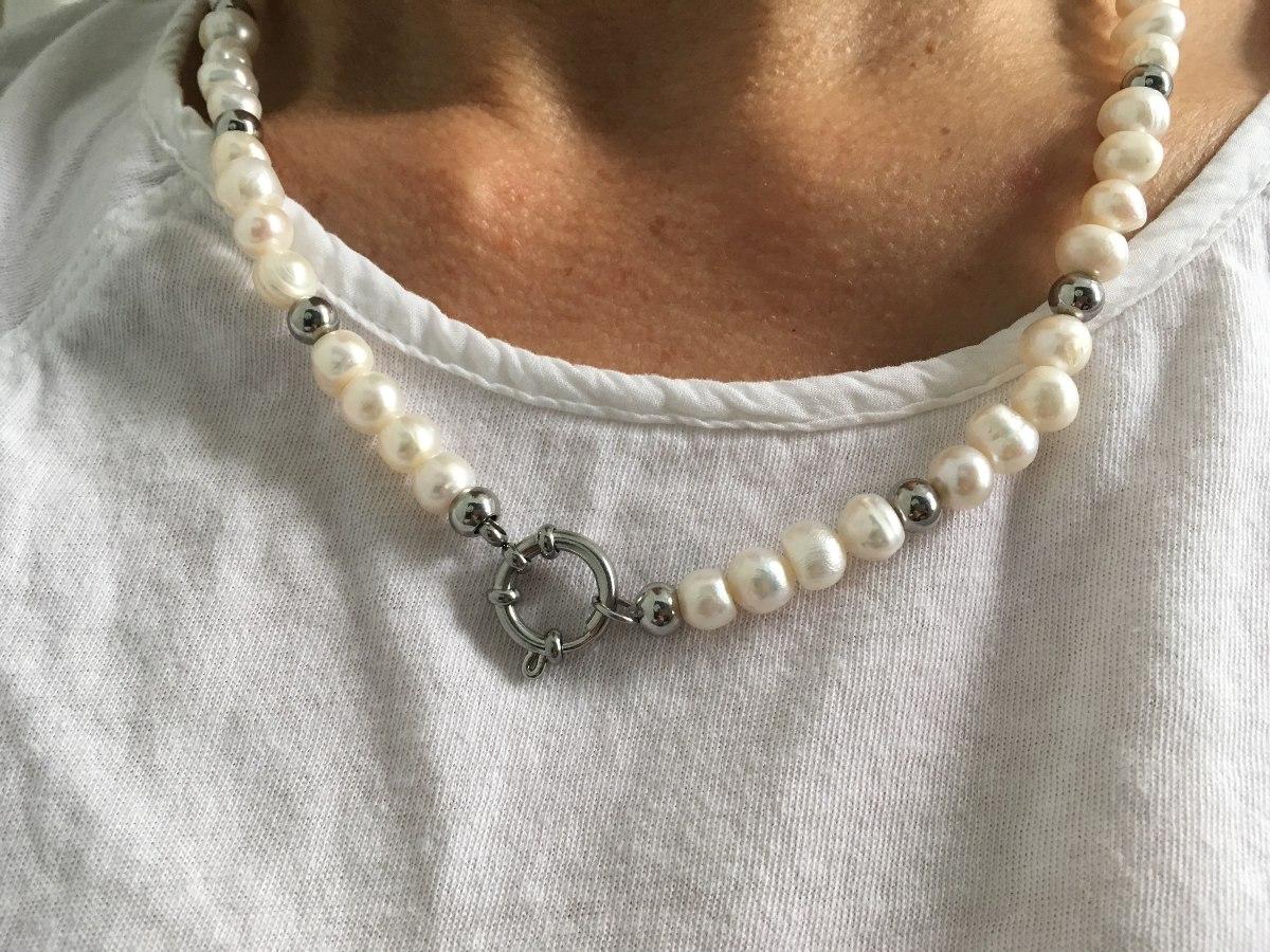 4060a240f250 collar perlas de río y acero quirúrgico. Cargando zoom.