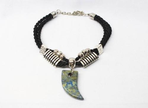 collar piedra y cordon negro - siri
