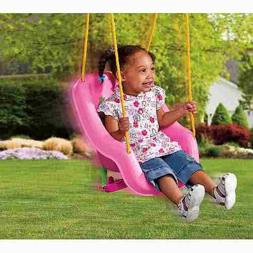 columpio rosa princesa para tu bebe de 9 meses hasta 4 años