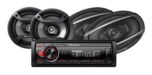 combo auto pioneer radio + parlantes 6'' + parlantes 6x9