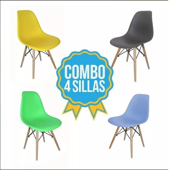 Combo De 4 Sillas Eames Color Amarillas Para Adultos - $ 2.796,00 en ...