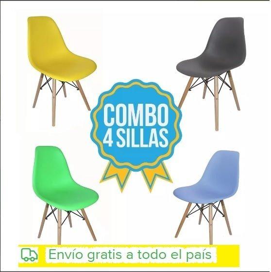 Combo De 4 Sillas Eames Rosado Para Adultos Envio Gratis - $ 3.396 ...