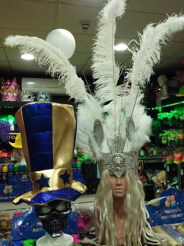 combo galeron boca y casco de plumas blanco con luz - bodas