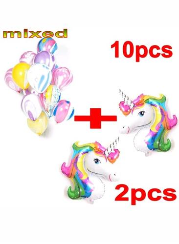 combo oferta 2 unicornio y 10 globos.marmolados. soriano