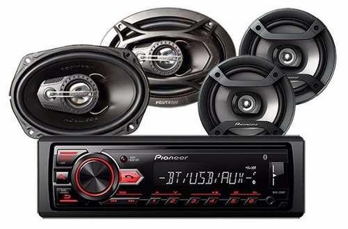 combo radio 295bt pioneer + parlantes 6  ts-f1634r + atp6950