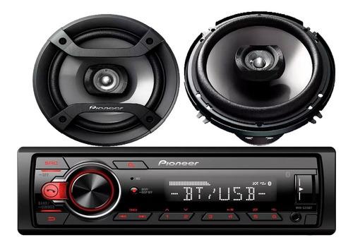 combo radio auto pioneer mvh-s215bt + parlantes 6'' pioneer