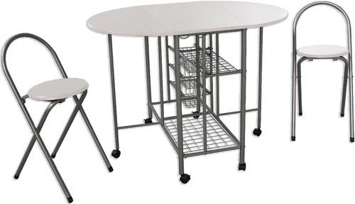comedor desayunador con mesa plegable + 2 bancos plegables