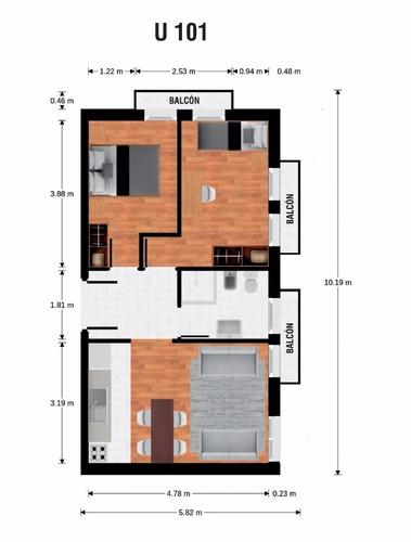 con renta. 2 dormitorios. balcones. 1er piso. 2 dormitorios.