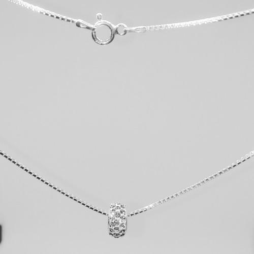 conjunto abalorio strass cristal cadena plata 925