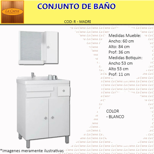 conjunto baño mad- botiquín - espejo - mueble - bacha - lcm