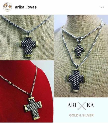 conjunto cadena y cruz panther plata y oro