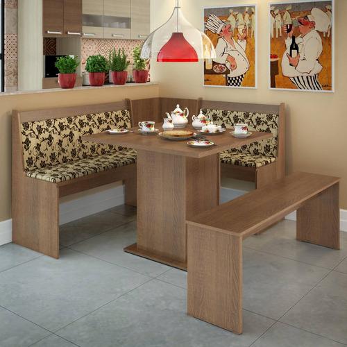 conjunto canto alemão mesa com banco herz madesa rust ch