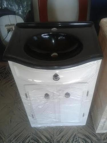 conjunto de bacha y mueble en marmol sintetico para baño