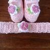 conjunto de zapatitos y vincha a  crochet para bebe