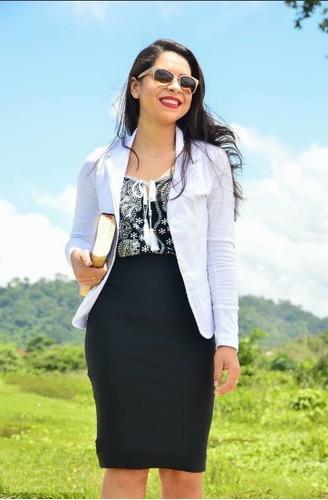 conjunto feminino blazer + saia lápis midi moda evangélica