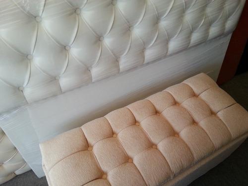 conjunto: respaldo de cama sommier y baul botinera mueble