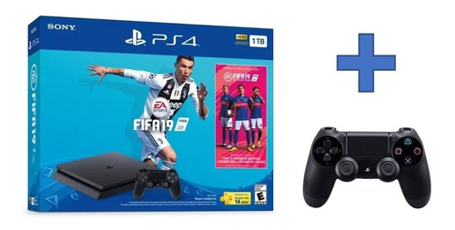 consola playstation 4 ps4 1 tb + fifa 2019 + 2 controles
