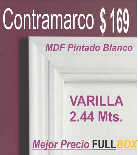 contramarco pintado blanco importado 2.40 mts -10 cms. ancho