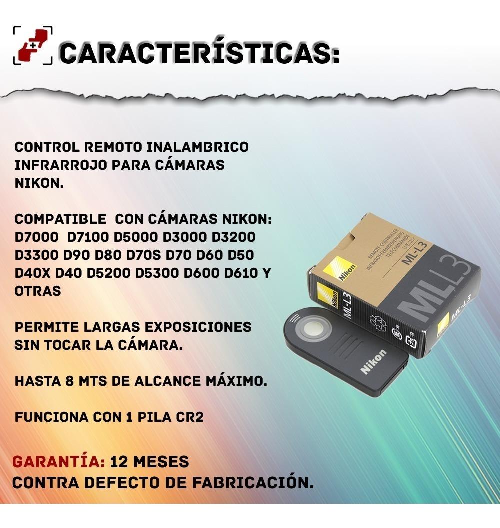 D80 D70S D70 Infrarrojo inalámbrico ML-L3 Control Remoto IR para Nikon D3300 D3200 D3000 D90