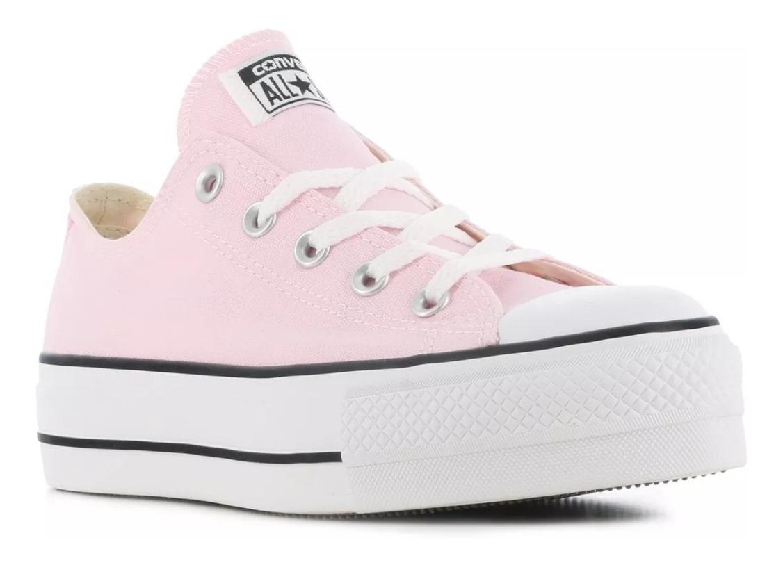 converse mujer plataforma rosa