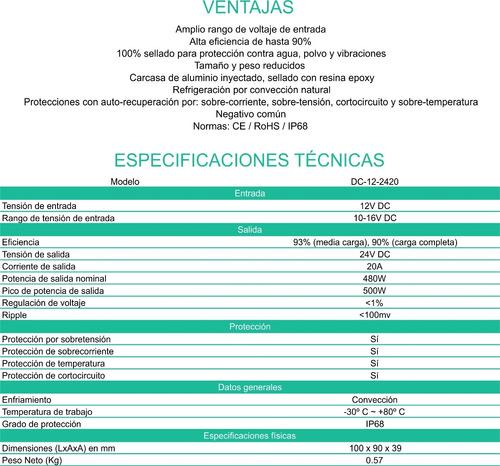 convertidor conversor 12v a 24v 20 ah. enertik