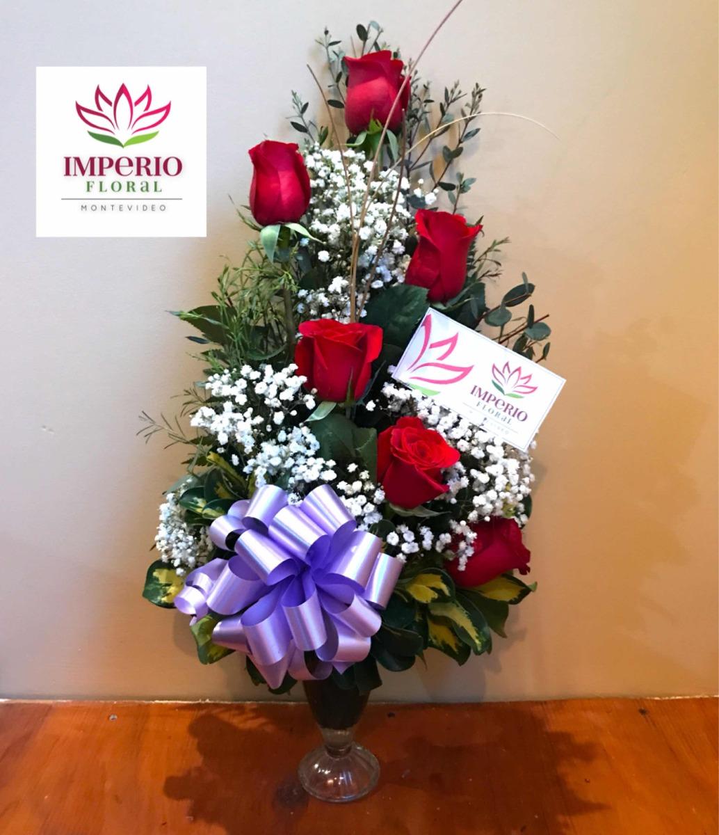 Copa De 6 Rosas Arreglo Floral Florería Envío Gratis Regalo