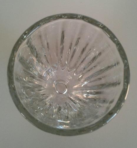 copa helado grande  labrada en vidrio grueso antigua