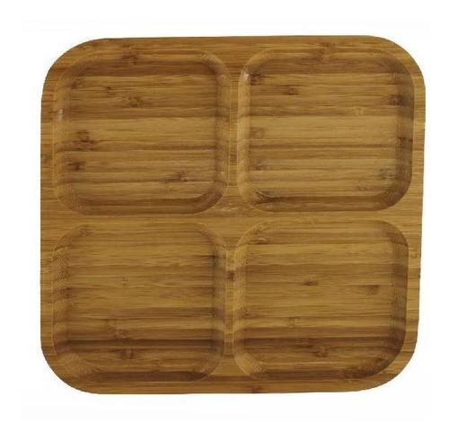 copetinero cuadrado x 4 divisiones de madera 30 x 30 cm