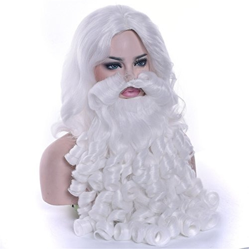 coply white santa claus beard and wig set for men synthetic