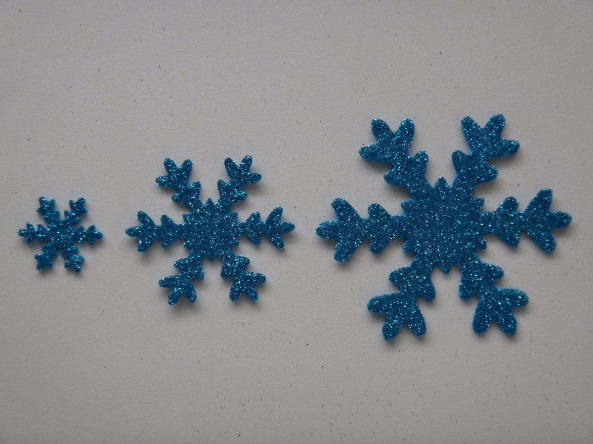 Copo De Nieve De 5cm Aplique En Goma Eva Con Brillantina 600