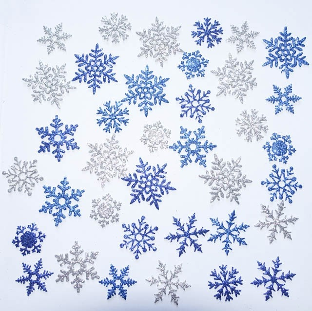 Copos De Nieve Brillantina En Goma Eva O Cartulina 50 Unidds 340