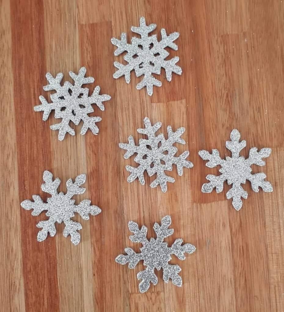 Copos De Nieve Goma Eva Brillantina Frozen 700 En Mercado Libre