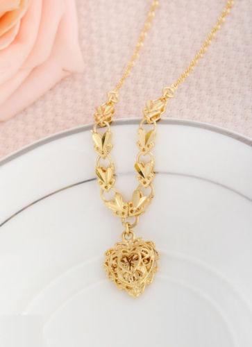 mejor servicio db09b c05d6 Corazón Hueco Collar Colgante Plateado Oro Para Mujeres Moda