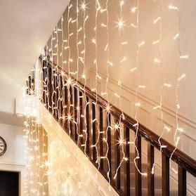 cortina de luces 200 led 2 x 2 metros luz blanca cálida