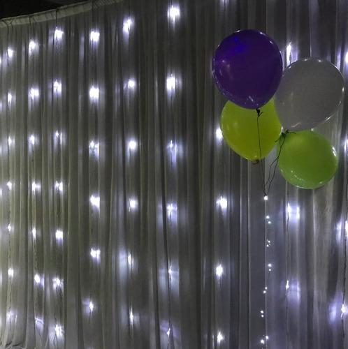 cortina led 3x3m efecto lluvia cascada luz blanca eventos
