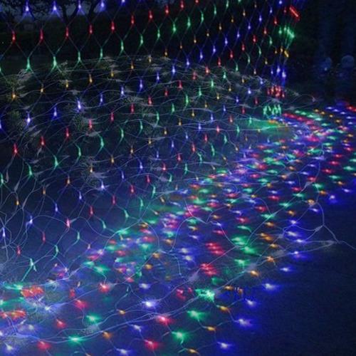 cortina - red varios efectos 220 luces led navidad 2x2m