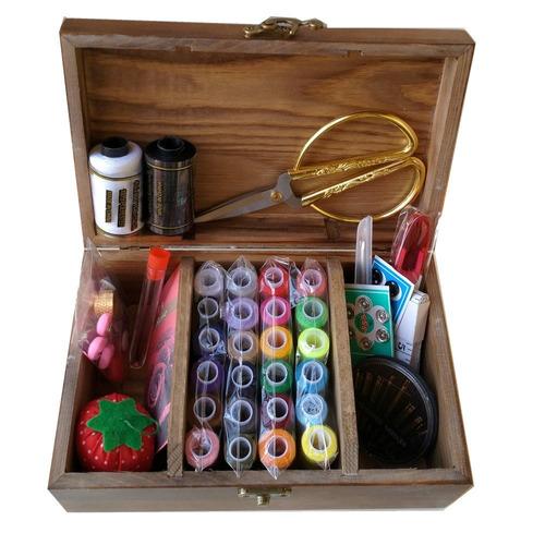 costurero de madera con accesorios kit de costura, caja d