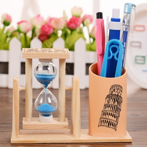 creativo madera suministro reloj pen stationery office