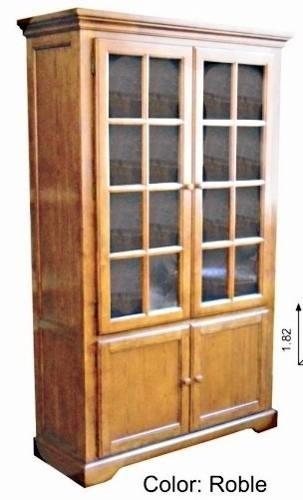 Cristalero biblioteca mueble en madera maciza de gomero for Muebles madera maciza uruguay