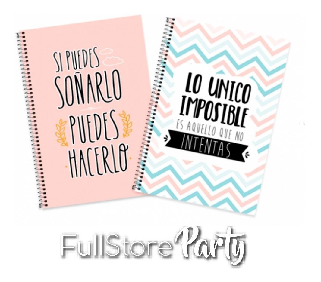 Cuaderno Libreta Diseño Frases Con Espiral X4