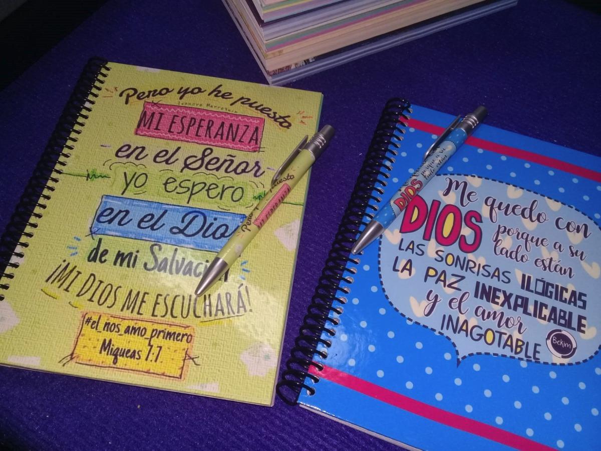 Cuaderno Libreta Lapicera De Regalo Frases Cristianas Pers