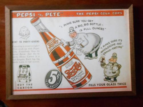 cuadro cartel publicidad antigua de pepsi cola con vidrio.