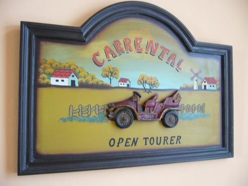 cuadro coche antiguo en relieve