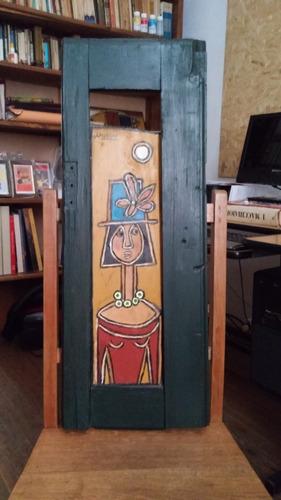 cuadro de aída moreno óleo s/tabla 45x15cm con marco