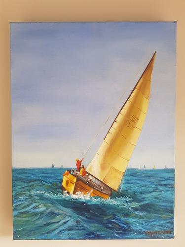 cuadro, marina, oleo sobre tela autor nacional. obra: velero